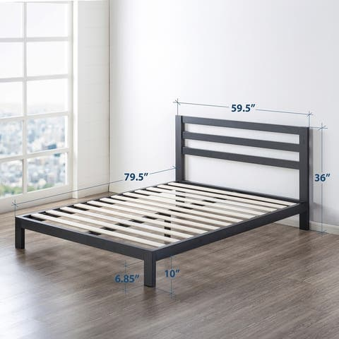 10 inch Metal Platform Bed with Headboard/Wooden Slat Support/Mattress Foundation (No Box Spring Needed) - Crown Comfort
