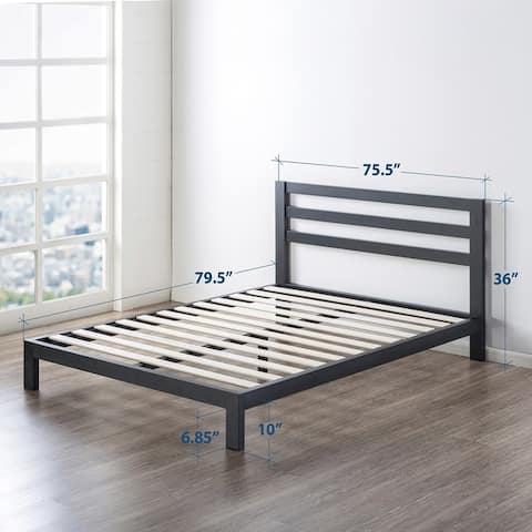 10 inch Metal Platform Bed with Wooden Slat Support By Crown Comfort