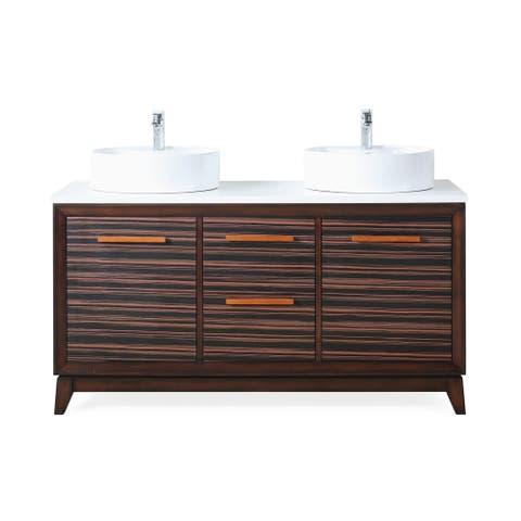 "63"" Tennnat Brand Arturo Double Sink Art Deco Bathroom Vanity"