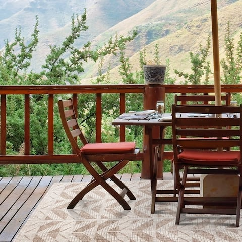 Domani Nomad Geometric Chevron Outdoor Area Rug