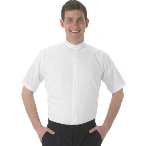 Henry Segal Men's Banded Collar Short Sleeve Shirt, White