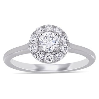 Eternally Yours 3 4ct TDW Lab Grown Diamond Halo Engagement Ring In 14k White Gold