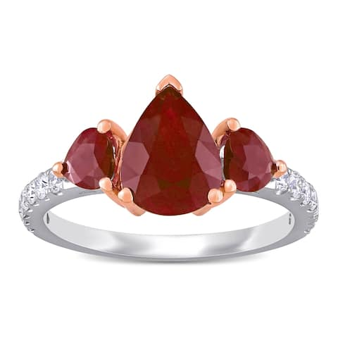 Miadora 14k White and Rose Gold Ruby and 1/3ct TDW Diamond 3-Stone Engagement Ring