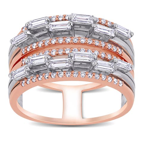 Miadora 2-Tone 14k Rose and White Gold 3/4ct TDW Baguette and Round-Cut Diamond Multi-Row Band Ring
