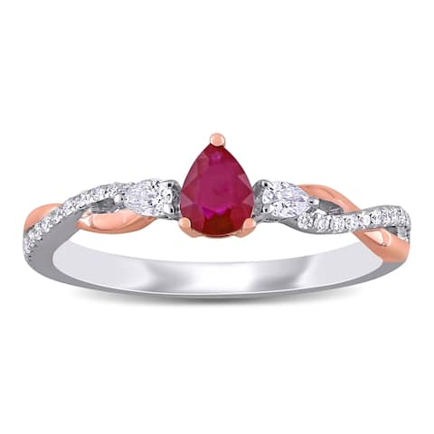 Miadora 2-Tone 14k White and Rose Gold Ruby and Diamond Infinity Engagement Ring