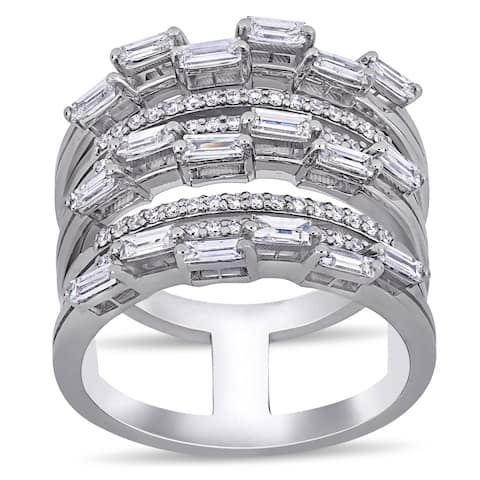 Miadora 14k White Gold 7/8ct TDW Baguette and Round-Cut Diamond Multi-Row Band Ring