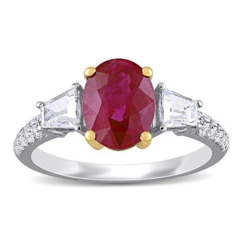 Miadora 14k White and Yellow Gold Ruby White Sapphire and 1/4ct TDW Diamond 3-Stone Engagement Ring