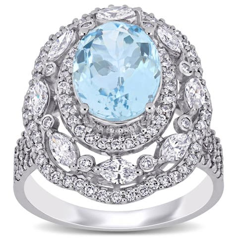 Miadora 14k White Gold Aquamarine and 1-1/6ct TDW Multi-Cut Diamond Triple Halo Cocktail Ring
