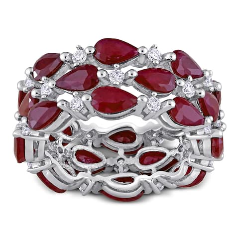 Miadora 14k White Gold 6ct TGW Pear-Cut Ruby and 1/2ct TDW Diamond Cluster Full-Eternity Band Ring