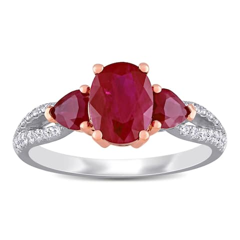 Miadora 14k White and Rose Gold Ruby and 1/5ct TDW Diamond 3-Stone Engagement Ring