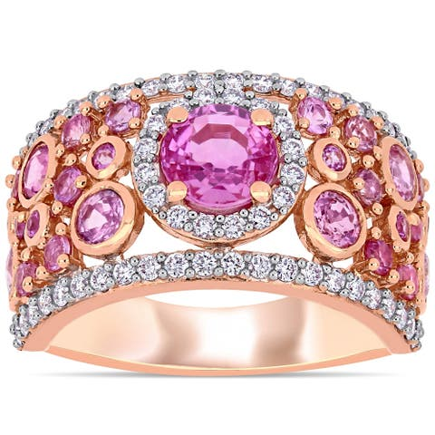 Miadora 14k Rose Gold Pink Sapphire and 1/2ct TDW Diamond Cluster Band Ring