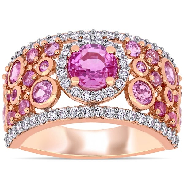 fbca1b2f2ab2c4 Miadora 14k Rose Gold Pink Sapphire and 1/2ct TDW Diamond Cluster Band Ring