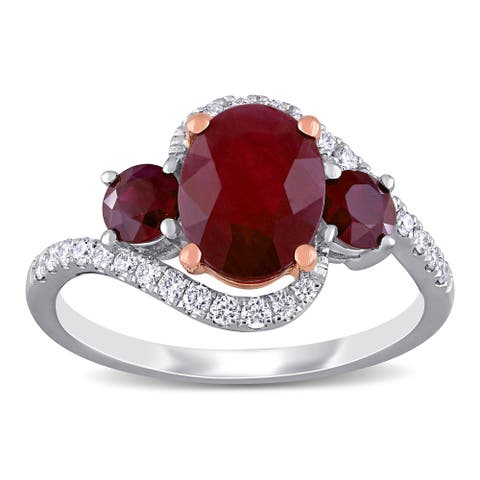 Miadora 14k White and Rose Gold Ruby and 1/4ct TDW Diamond 3-Stone Crossover Engagement Ring