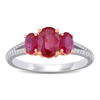 Miadora 14k White And Rose Gold Ruby And 1 6ct TDW Diamond 3 Stone Engagement Ring