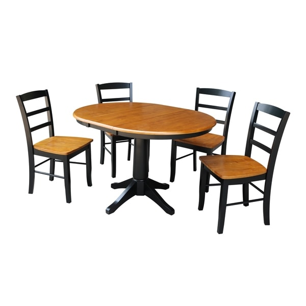 """36"""" Round Extension Dining Table With 4 Madrid Chairs"""