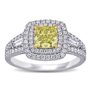 Miadora 14k White and Yellow Gold 2-1/10ct TDW Certified Cushion Yellow and White Diamond Double Halo Engagement Ring (GIA)