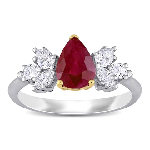 Miadora 14k White and Yellow Gold Ruby and 1/2ct TDW Diamond Floral-Inspired Engagement Ring