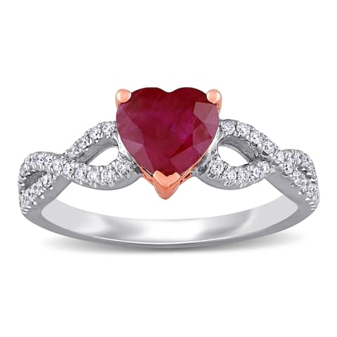 Miadora 14k White and Rose Gold Heart-Cut Ruby and 1/4ct TDW Diamond Infinity Engagement Ring