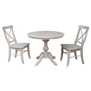 "36"" Round Extension Dining Table With 2 X-Back Chairs"