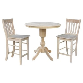 """36"""" Round Extension Dining Table 34.9""""H With 2 Cafe Counterheight Stools"""