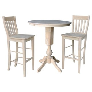 """36"""" Round Extension Dining Table 40.9""""H With 2 Cafe Barheight Stools"""