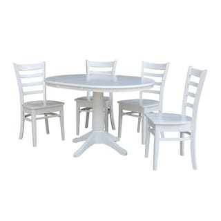 "36"" Round Extension Dining Table With 4 Emily Chairs"