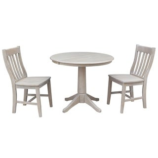 """36"""" Round Extension Dining Table With 2 Cafe Chairs"""