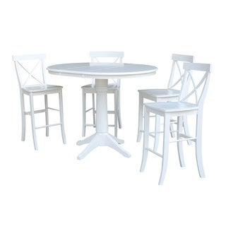 "36"" Round Extension Dining Table 34.9""H With 4 X-Back Counterheight Stools"