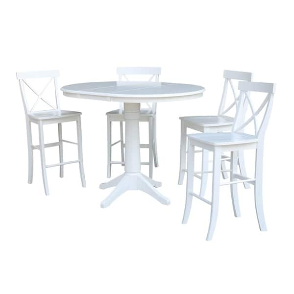 Admirable Shop 36 Round Extension Dining Table 34 9H With 4 X Back Machost Co Dining Chair Design Ideas Machostcouk