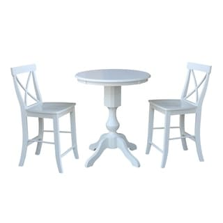 "30"" Round Pedestal Gathering Height Table With 2 X-Back Counter Height Stools"