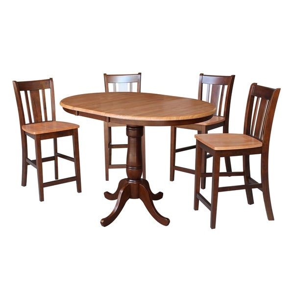"""36"""" Round Top Pedestal Table With 12"""" Leaf - 34.9""""H - Counter Height - With 4 San Remo Stools"""