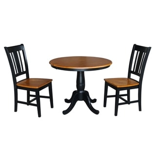 "36"" Round Top Pedestal Ext Table With 12"" Leaf And 2 San Remo Chairs"