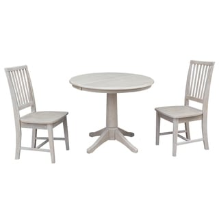 """36"""" Round Extension Dining Table With 2 Mission Chairs"""