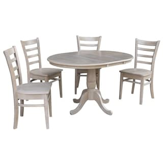 """36"""" Round Extension Dining Table With 4 Emily Chairs"""