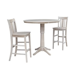 """36"""" Round Extension Dining Table 40.9""""H With 2 San Remo Barheight Stools"""