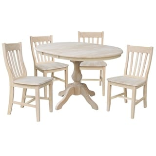 """36"""" Round Extension Dining Table With 4 Cafe Chairs"""