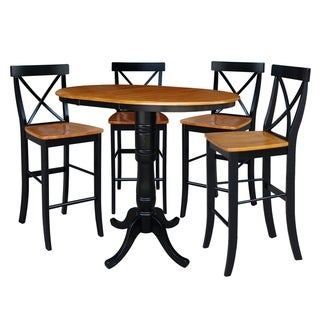 "36"" Round Top Pedestal Ext Table Bar Height With 12"" Leaf And 4 Rta X-Back Barstools"