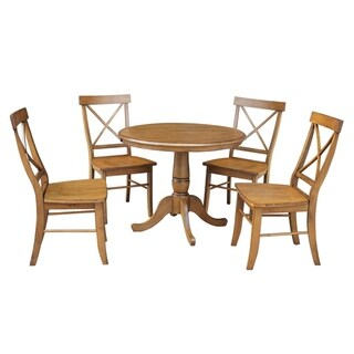 "36"" Round Top Pedestal Ext Table With 12"" Leaf And 4 X-Back Rta Chairs"