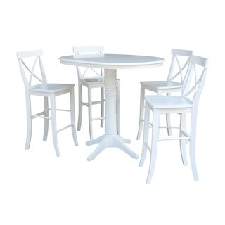 "36"" Round Extension Dining Table 40.9""H With 4 X-Back Barheight Stools"
