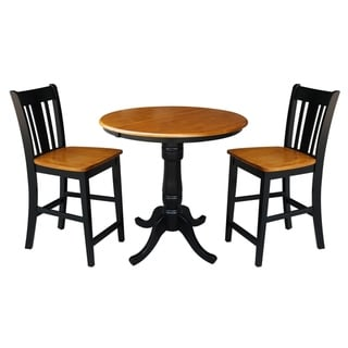 "36"" Round Top Pedestal Ext Table Counter Height With 12"" Leaf And 2 Rta San Remo Counterheight Stools"