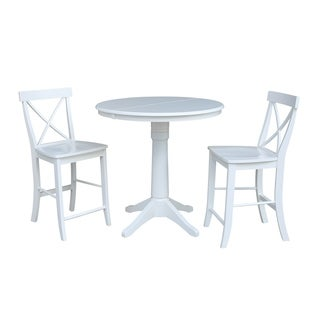 "36"" Round Extension Dining Table 34.9""H With 2 X-Back Counterheight Stools"