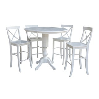 """36"""" Round Extension Dining Table 40.9""""H With 4 X-Back Barheight Stools"""