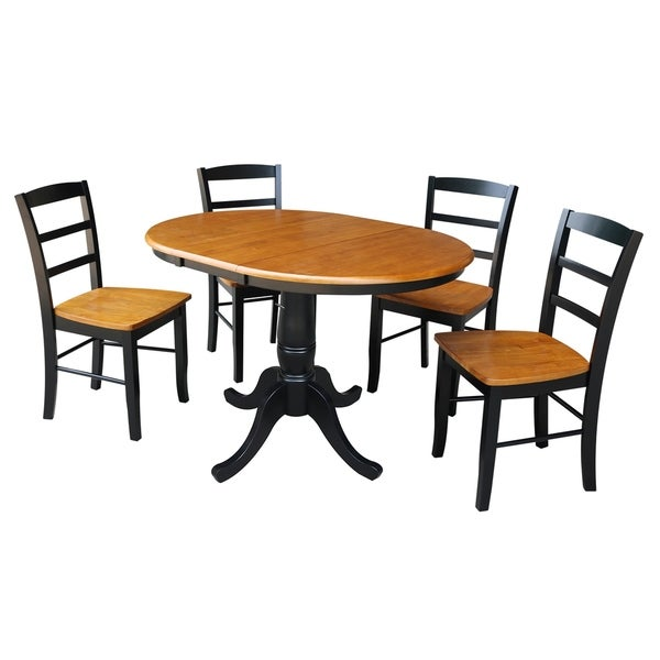 "36"" Round Top Pedestal Ext Table With 12"" Leaf And 4 Rta Madrid Chairs"