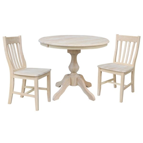 Shop 36 Round Extension Dining Table With 2 Cafe Chairs Overstock 27283420