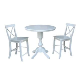 "36"" Round Extension Dining Table 36""H With 2 X-Back Counterheight Stools"