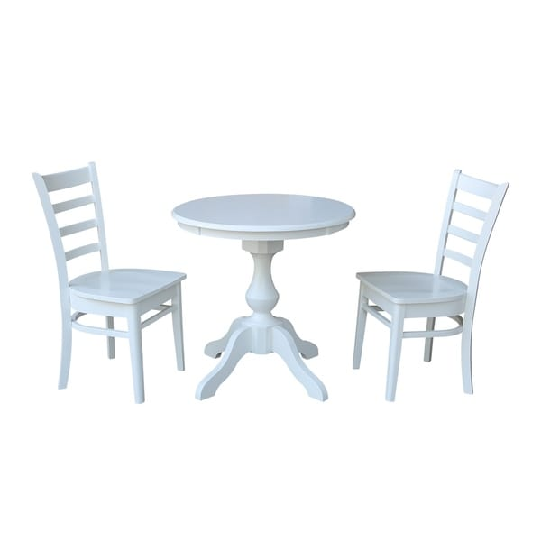 "30"" Round Top Pedestal Table - With 2 Emily Chairs"