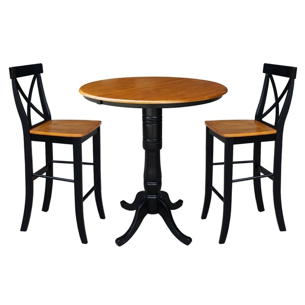 "36"" Round Top Pedestal Ext Table Bar Height With 12"" Leaf And 2 Rta X-Back Barstools"