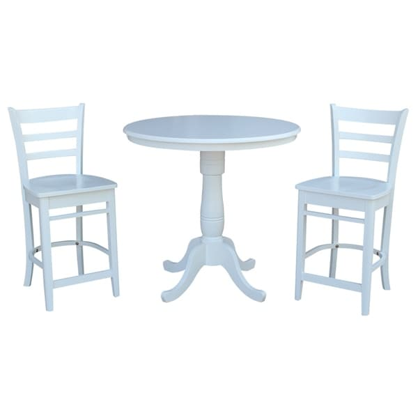 """36"""" Round Pedestal Gathering Height Table With 2 X-Back Counter Height Stools"""
