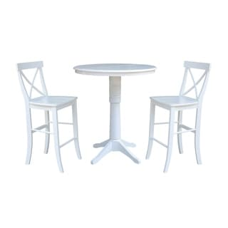 """36"""" Round Extension Dining Table 40.9""""H With 2 X-Back Barheight Stools"""