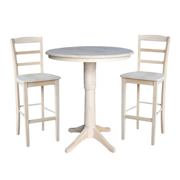 """36"""" Round Extension Dining Table 40.9""""H With 2 Madrid Barheight Stools"""